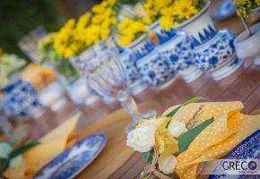 Chá de cozinha azul e amarelo
